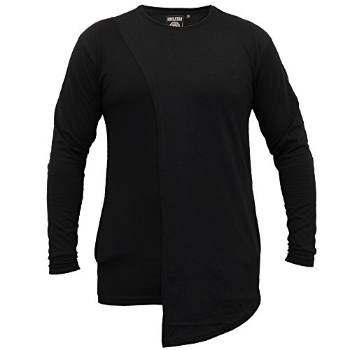 Herren Lange Linie Mit Kapuze Jersey Oberteil Soul Star Halbrunder Saum T-shirt Mode Neu Schwarz - BRITAPKB