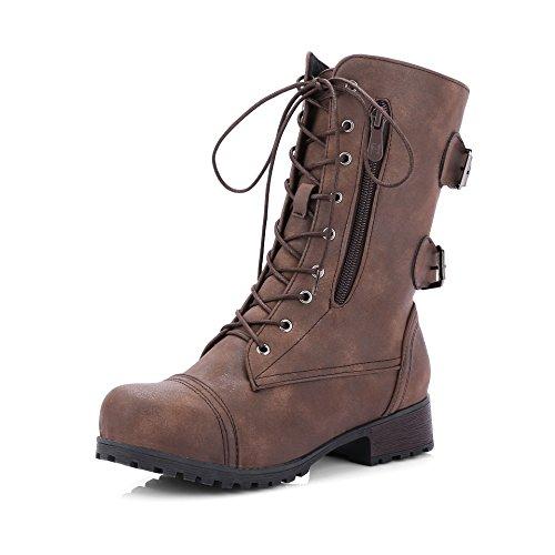 HUA&X Donna fondo spesso tacco basso breve caviglia stivali scarpe di grandi dimensioni Brown
