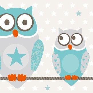 anna wand Bordüre selbstklebend OWL STARS BOYS - Wandbordüre Kinderzimmer / Babyzimmer mit Eulen & Sternen in Türkis-Taupe - Wandtattoo...