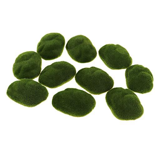 Homyl 10 Stück Künstliche Moos Steine Moosbälle Grünpflanze Dekoration für Aquarium