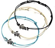 J Meng Vintage Wax Rope Turtle Beads Anklet Boho Wave Spray Bracelet Bohemian Summer Foot Chain for Women