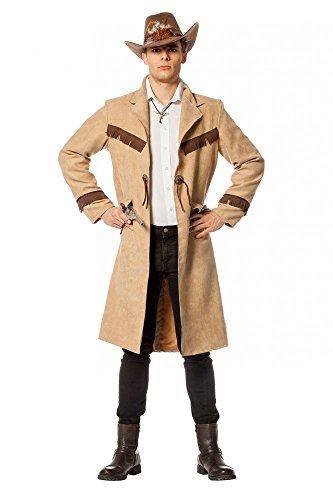 Cowboy-Mantel in Luxusausführung Wildleder-Optik Herren Western Old Shatterhand, Größe:52 (Halloween-kostüme Western Cowboy)