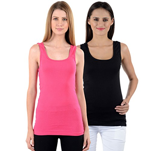 NumBrave Pink & Black Tank Top for Women (Pack of 2)