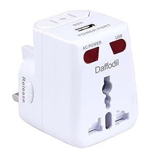 Daffodil WAP150 Adaptateur Secteur Universel - Prise de Voyage et Chargeur USB compatible dans plus de 175 pays