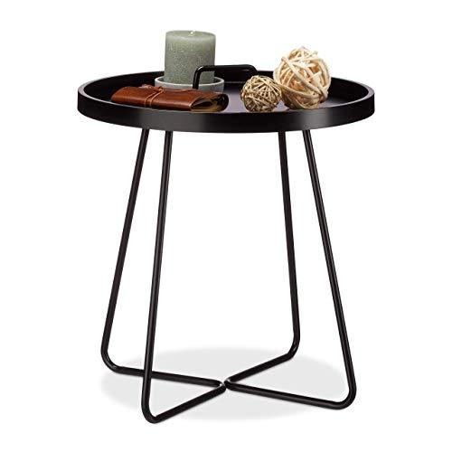 Relaxdays Beistelltisch mit Griff, Runder Ablagetisch, Serviertisch mit Tischplatte aus Bugholz, HxD 55 x 46 cm, Schwarz -