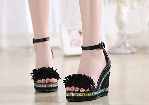 BaiLing Damen Sommer Sandalen / Wedge Ferse handgefertigte gestrickte Stroh wasserdicht / dicke Boden / Quaste kleine Größe Schuhe Black