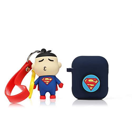 Lewote Coque en Silicone pour Airpods Apple 1 et 2 (Superman)