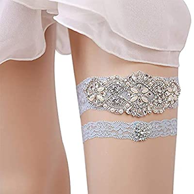 Kalolary Wedding Lace Garter Wedding Bridal Garter Stretch Womens Sexy Bridal Pearl Sets with Rhinestones for Wedding, Party, Evening(Light Blue)