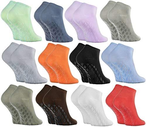 Rainbow Socks - Damen Herren Sneaker Bambus Stoppersocken - 12 Paar - Mehrfarbig - Größen: EU 36-38