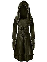 ee8825cefeddc0 Pommaxe Damen Gothic Kleid Karneval Kostüm Anime Lolita Cosplay Vokuhila  Hoodie Langarm Kapuzen Einfarbig…