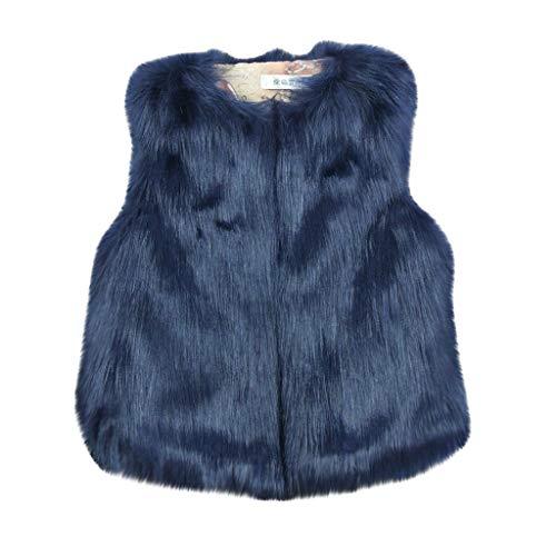 Livoral Kinder Winter Mantel Baby-und Jungen-Plüsch halten warme Reine Farben-lose Mantel-Lange Haar-Plüsch-Weste(Dunkelblau,110)