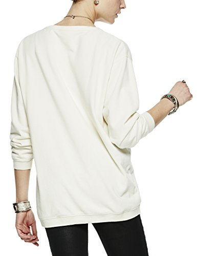 Scotch & Soda Maison Damen Sweatshirt Boxy Fit Sweat with Chest Artwork Beige (Ecru 05)