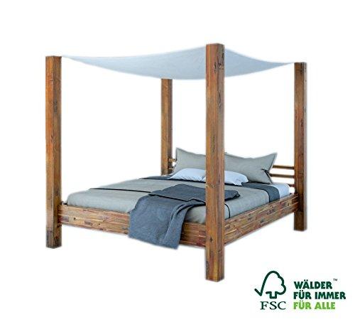 SAM Himmelbett 140x200 cm Ella, aus Akazien-Holz Massiv inkl. Stoffhimmel, Unikat, Doppelbett