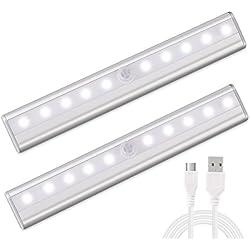 morpilot 2PCS LED Recargable Sensor de Movimiento PIR Super Brillante LED Lámpara Inalámbrica Uso de Pared Escalera Cajón Armario Tronco