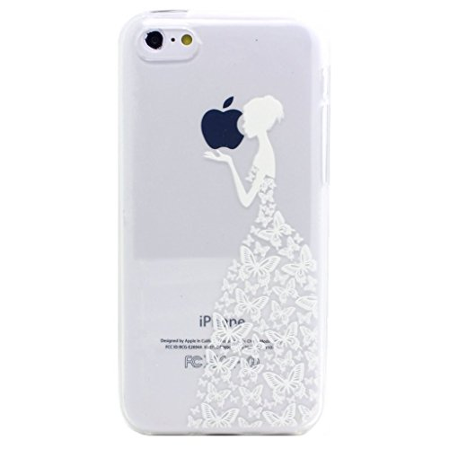 iPhone 5 5S SE Coque , YIGA Pinguin Noir Blanc Bleu Transparent 3D Crystal TPU Silicone Doux TPU Case Cover Housse Etui pour Apple iPhone 5 5S / iPhone SE White Girl Butterfly