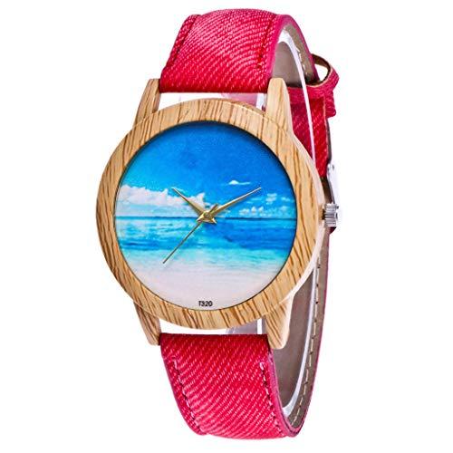 Gesicht Denim (Giulogre 2019 Holz Uhren Mit Denim Strap Damen Armbanduhren Glas Gesicht Rundes Zifferblatt Quarzwerk Analog Uhren Kinder Outdoor Armbanduhren für Jungen Mädchen (Rot))