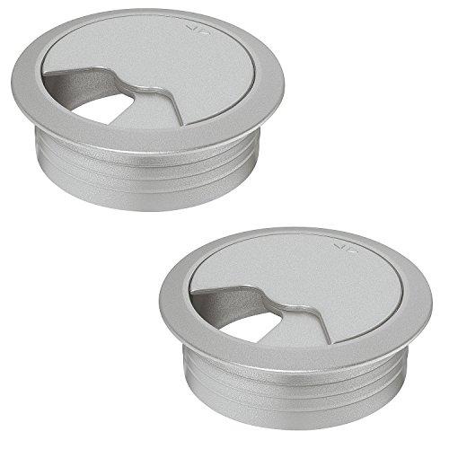 2 Stück - Kabeldurchführung silber Schreibtisch Kunststoff DESK rund | Kabeldurchlass...