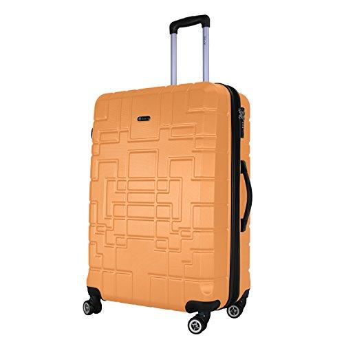 Shaik Serie XANO HKG Design Hartschalen Trolley, Koffer, Reisekoffer, in 3 Größen M/L/XL/Set 50/80/120 Liter, 4 Doppelrollen, TSA Schloss (Großer Koffer XL, Gelb)