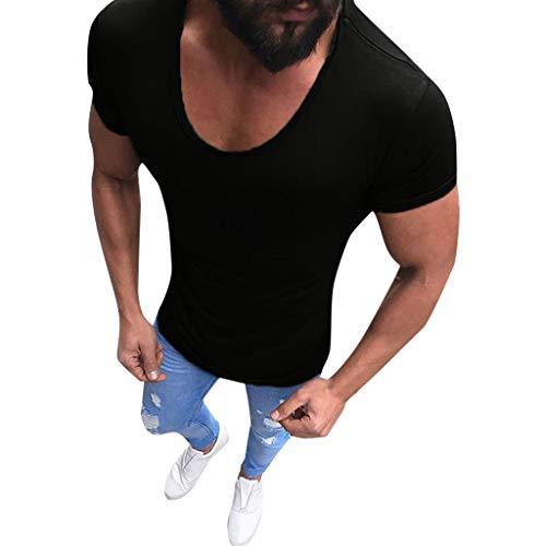 BaZhaHei Tinta Unita T-Shirt a Maniche Corte V-Collo Slim Tee - Canotta Uomo Bodybuilding Tank Muscolo Maglietta Estate Casuale Fitness Top Camicia da Uomo Elegante-Gilet Sportivi