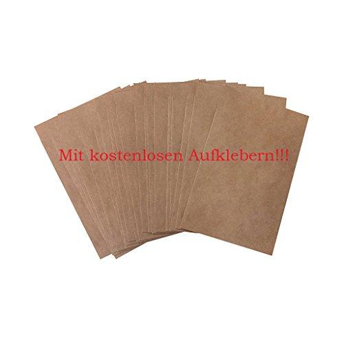 50 kleine mini Papiertüte 8,5 x 13,2 cm (+ 1,3 cm Lasche) natur braun Kraftpapier Verpackung Kleinteile Mini-tüte Gastgeschenk give-away Tischkarte Umschlag Mitgebsel Freudentränen