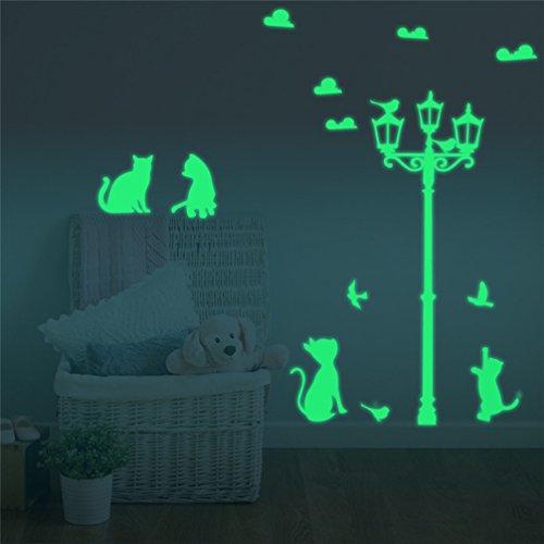 Preisvergleich Produktbild LA VIE Wandaufkleber Nette Katze unter den Straßenlaternen Leuchtaufkleber Fluoreszierend und im Dunkeln Leuchtend für Schlafzimmer Wohnzimmer Kinderzimmer