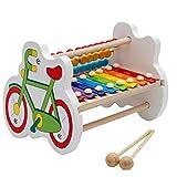 Fenteer 2 in 1 Fahrrad Form Xylophon Glockenspiel & Rechenrahmen Holzspielzeug Kinder