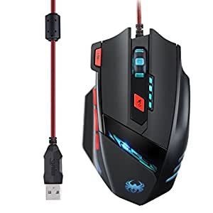 Gaming Maus, TOPELEK Gaming-Maus 8 Tasten 9200 DPI Hohe Precision Wired Spiel-Maus Led Pc Mäuse Mouse Computermaus Gamermaus Maeuse Usb Ergonomisches Design Mause Für PC, Laptop, Computer Pro Gamer