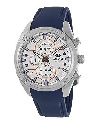 Reloj Marea Analógico Multifunción Hombre B54156/1 con Calendario, Correa de Silicona Azul y Esfera Plateada