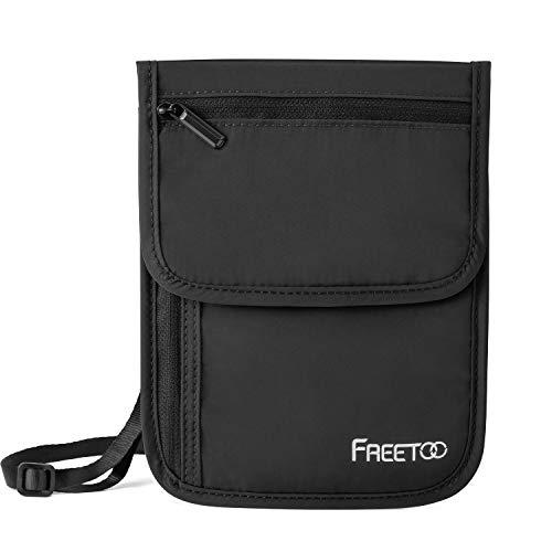 FREETOO Brustbeutel Reise mit RFID-Schutz 6 Fächer Ordentlich für Handys, Pässe, Bankkarten, Bargeld, Bordkarten