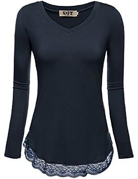 DJT Damen Langarmshirt V-Kragen T-Shirt Bluse mit Lace Hem Tunika