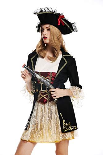 dressmeup W-0266 Kostüm Kleid Hut Damen Frauen Karneval Halloween edle Barock Piratin Seeräuberin Gr. S (Edelfrau Kostüm)