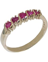 Solid 925 Sterling Silver Natural Ruby Womens Eternity Ring