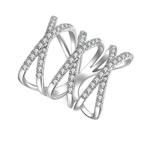 Daesar Silberring Damen Ring Silber Ehering für Damen Verlobungsring Benutzerdefinierte Ring Hohl Strass Ring Größe:63 (20.1) Schwarz Lesbische Filme