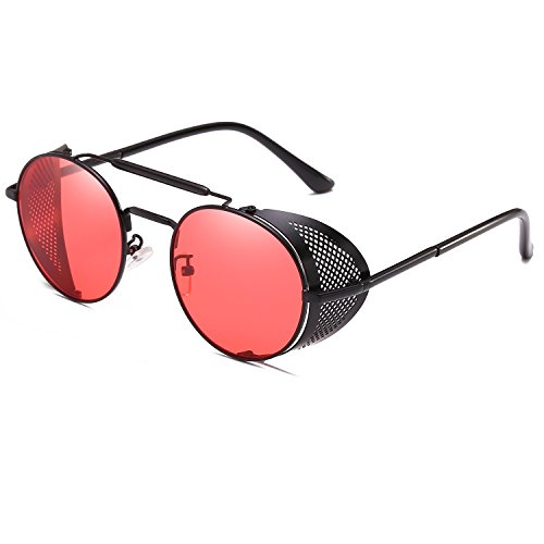 CVOO Retro Sonnenbrille,Steampunk Stil, runder Metallrahmen,für Frauen und Männer