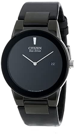 Citizen Watch Axiom Men's Quartz Watch with Black Dial Analogue Display and Black Leather Strap AU1065-07E