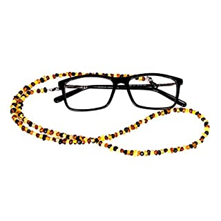 AMBERAGE Natural Baltic Amber Beaded Eyeglasses -Sunglasses Holder/Eyewear Retainers/Eyeglass Chain for Adults Hand Made from Polished/Certified Baltic Amber Beads(3colors) (Multi Color)