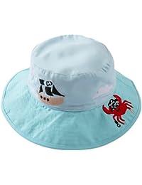 EOZY Chapeau De Soleil Enfant Fille Brodé Chapeau Pêche Capeline Coton Outdoor