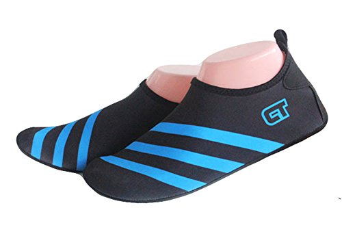 Fortuning's JDS Durevole Suola immersione Aqua scarpe di pelle di estate Yoga traspirante Calze sportive Piscina Spiaggia Su scarpe da surf sport acquatici Blu