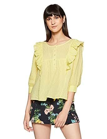 Amazon Brand - Symbol Women's Plain Loose Fit Top (SS-18-SYMWBL010-Yellow-M)