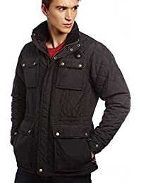 VEDONEIRE Mens Quilted Jacket (3037 BLACK) leather trim coat