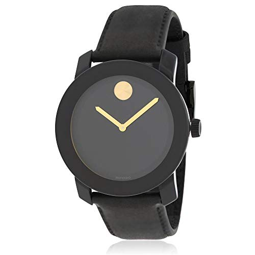 Movado Men's Black Leather Band Steel Case Swiss Quartz Analog Watch...