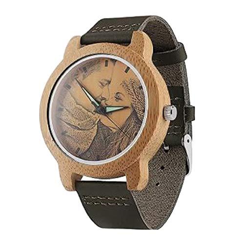 Personalisierte Unisex Uhren aus Holz mit Foto Gravur Nachricht für Frauen/Männer Armbanduhr -