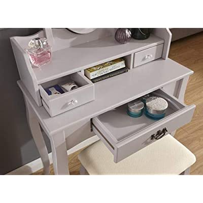 Home Source - Vintage Style Grey Dressing Table Padded Stool Oval Mirror Drawers 3pc Set
