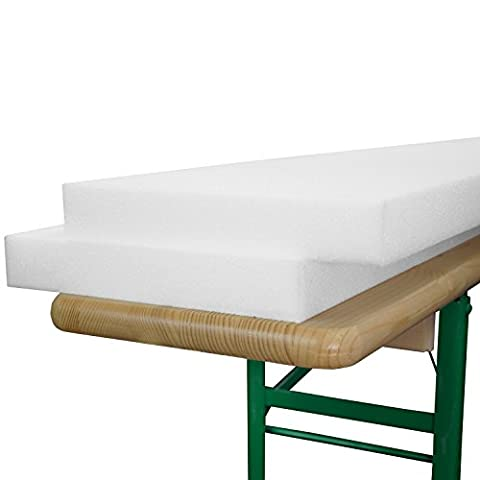 Beautissu Upholstery Foam 2 Set EXTRA THICK 4 cm Thick Cut to Size Sponge Inlay for Trestle Bench Covers or 3 Seaters