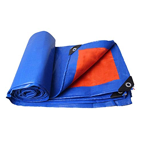 Leinwand Falten Anzug (BAIJJ Leichte Tarps Allzweck wasserdichte doppelseitige blau/orange Poly-Plane, Anzüge für Sonnenschutz-Campingzelt, Abdeckung für Dach-Fahrgemeinschaft Volle Größe (Größe: 3 mx 5 m))