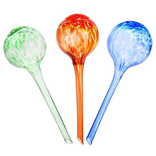 Topmail 3 Stück 200 ml Bunte Bewässerungskugel Blumenbewässerung aus Glas kleine selbstbewässernder Blumentopf Ø7 cm H 20cm für topfpflanzen (Rot + Grün + Blau)