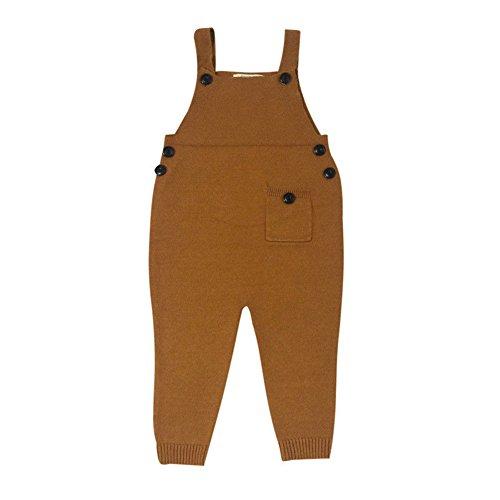 Baby Kinder Latzhose - Mädchen Jungen Baumwolle Overall Jeans mit Knöpfen 1-5 Jahre Braun -