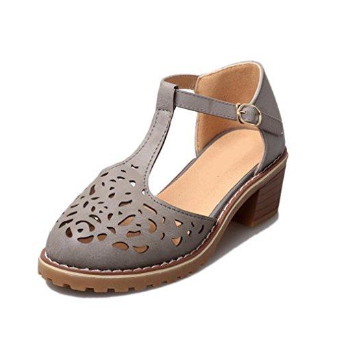 WZG Printemps et boucle d'été hauts talons épais pente croûte de pain avec des sandales romaines Baotou wisp vide light gray