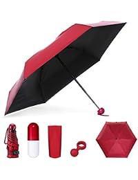NASUM Mini Paraguas Plegable, Paraguas Portátil en Forma de Cápsula, Paraguas de Viaje Ligero Compacto Plegable Doble Capa Bloqueador Solar, Protección UV UPF 50+ Resistente a la Lluvia,Rojo Oscuro