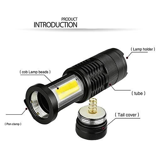 Q5 COB linterna LED, ultra brillante, 3800 lúmenes, zoom Mini Q5 COB LED linterna foco para acampar, senderismo, ciclismo